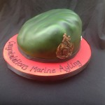 A green royal marines beret sat on a red iced board